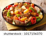 beef filipino caldereta with... | Shutterstock . vector #1017156370