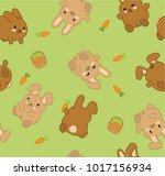 brown bunnies  carrots and... | Shutterstock .eps vector #1017156934