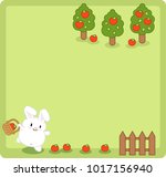 little white bunny collecting... | Shutterstock .eps vector #1017156940