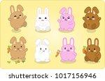 eight bunnies in different...   Shutterstock .eps vector #1017156946
