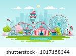 amusement park  urban landscape ... | Shutterstock .eps vector #1017158344