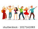 happy people dancing in various ... | Shutterstock .eps vector #1017161083