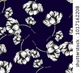 floral pattern peony hand drawn ... | Shutterstock .eps vector #1017162208