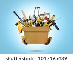 construction tools and helmet... | Shutterstock . vector #1017165439