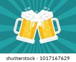 toasting beer glasses  cheers ... | Shutterstock .eps vector #1017167629