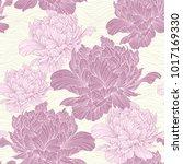 hand drawn linen peony flower ... | Shutterstock .eps vector #1017169330