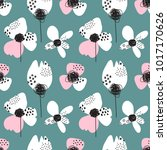 romantic seamless pattern with... | Shutterstock .eps vector #1017170626