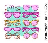 set of sketch glasses  trendy... | Shutterstock .eps vector #1017170629