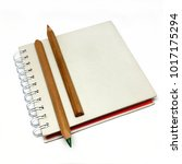 Small photo of Notebook.Trade.Address book.Text. Notes.Colour pencils.Ecological product.Isolated background.