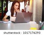 hipster woman use laptop huge... | Shutterstock . vector #1017176293