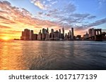 new york city lower manhattan... | Shutterstock . vector #1017177139