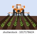 farm tractor cultivating field...   Shutterstock .eps vector #1017178624