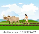 ancient man in a loincloth... | Shutterstock .eps vector #1017179689
