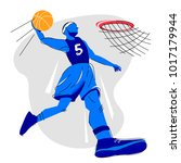 a player in a basketball gets... | Shutterstock .eps vector #1017179944