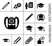 student icons. set of 13... | Shutterstock .eps vector #1017183244