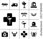 ambulance icons. set of 13... | Shutterstock .eps vector #1017183430