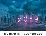 modern neon glowing 2019 new... | Shutterstock . vector #1017185218