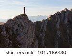 solitude woman standing on edge ... | Shutterstock . vector #1017186430