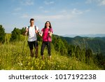 active beautiful young couple... | Shutterstock . vector #1017192238
