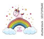 vector funny cartoon cute pink...   Shutterstock .eps vector #1017195640