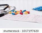 medical pills  stethoscope and...   Shutterstock . vector #1017197620