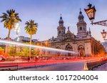 santiago de chile  chile. plaza ... | Shutterstock . vector #1017204004