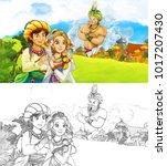 cartoon scene with happy king... | Shutterstock . vector #1017207430