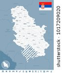 serbia map and flag   high... | Shutterstock .eps vector #1017209020