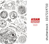 asian cuisine sketch collection.... | Shutterstock .eps vector #1017219733