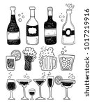 alcohol doodles set | Shutterstock .eps vector #1017219916