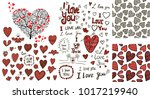 hearts hand drawn set | Shutterstock .eps vector #1017219940