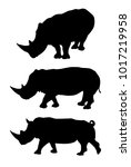set of rhino silhouettes | Shutterstock .eps vector #1017219958