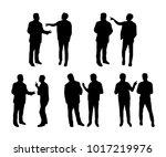 arguing man silhouetes | Shutterstock .eps vector #1017219976