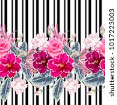 seamless pattern with roses ... | Shutterstock .eps vector #1017223003
