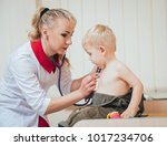 doctor woman examining... | Shutterstock . vector #1017234706