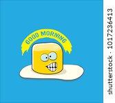 vector funny cartoon cute fried ... | Shutterstock .eps vector #1017236413