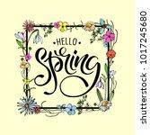 lettering of brush hello spring ...   Shutterstock .eps vector #1017245680