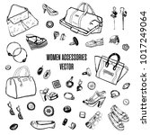 hand drawn vector black and... | Shutterstock .eps vector #1017249064