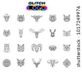 glitch effect animal logos.... | Shutterstock .eps vector #1017249976