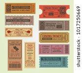 set of vintage vector tickets...   Shutterstock .eps vector #1017250669