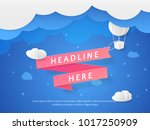 vector scene with 3d paper cut... | Shutterstock .eps vector #1017250909