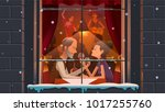 mature couple enjoying evening... | Shutterstock .eps vector #1017255760