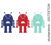 three colorful robot's... | Shutterstock .eps vector #1017257134