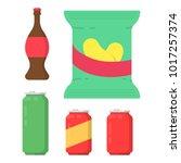 set with soda  beer and crisps | Shutterstock .eps vector #1017257374