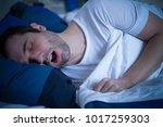 portrait of man sleeping and... | Shutterstock . vector #1017259303