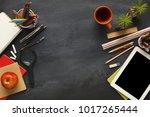 top view on school educational... | Shutterstock . vector #1017265444