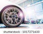 new car for sale in dealership... | Shutterstock . vector #1017271633