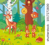 vector illustration with cute... | Shutterstock .eps vector #1017272830