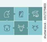 zoo icon set and bull with bear ...