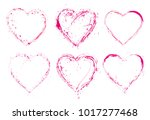 set of  paint  hearts with... | Shutterstock .eps vector #1017277468